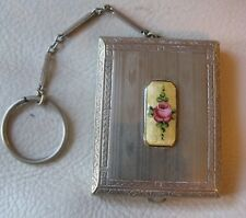 Antique Silver T Yellow Guilloche Enamel Nice Puff Finger Ring Dance Compact