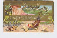 PPC POSTCARD HAPPY EASTER TIDE ART NOUVEAU GIRL CHICKS HEN