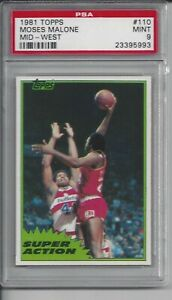 1981 Topps Basketball #110  Mid-West Moses Malone - PSA 9