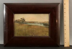 Sm 19thC Antique Signed ??? French Impressionist Watercolor Landscape Painting,