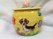 Hand Painted Beagle Treat Jar signed by Debby Carman Faux Paw Productions
