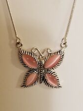 KC SIGNED SILVER TONE PINK STONES with CRYSTAL BEAD BUTTERFLY NECKLACE