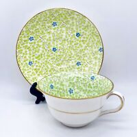 Vtg 1952 Rosina Bone China Forget Me Not Green Leaf Chintz Cup & Saucer England