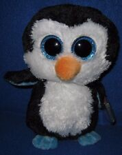 """TY BEANIE BOOS - WADDLES the 6"""" PENGUIN - MINT with NEAR MINT TAG - GLITTER EYES"""