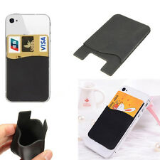 1x Silicone Credit Card Holder Cell Phone Wallet Pocket Sticker Adhesive Back
