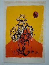 Vintage 1969 Signed Numbered Serigraph King Of The Road Vagabond Orange Sunset