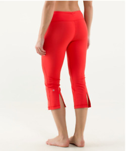 Lululemon Sz 10 Gather & Crow Split Leg Crop Leggings In Love Red Nylon Yoga  DD