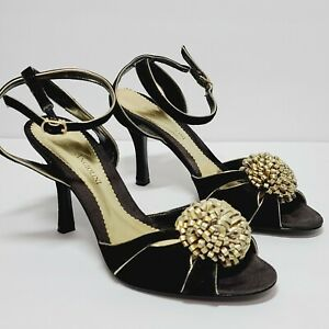 Enzo Angiolini Heels Sandals Open Toe Black Suede with Gold Bow Women's Size 8