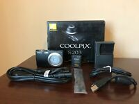 Used Nikon Coolpix S203 10.0 MegaPixel 3x Optical Zoom Digital Camera Black