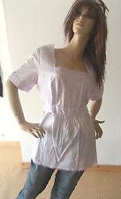 Zauberhafte COLLEENS Pure Wear Tunika Bluse Flieder LAGENLOOK Spitze Rüschen 44