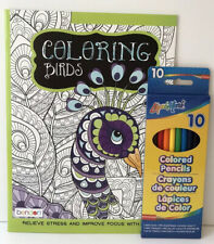 Adult Coloring Book Set Coloring Birds + Colored Pencils Relieve Stress