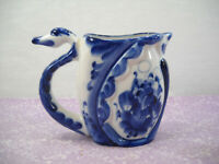 Vintage Cobalt Blue Handmade Russian Pottery Goose Pitcher Creamer Signed B.C.
