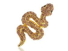 Gold Yellow Crystal Rhinestone Snake Black Eye Rhinestone Adjustable Ring Bling