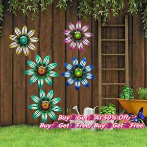 Metal Flower Wall Art Sculpture Outdoor Hanging Ornament for Garden Home Decor