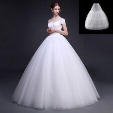 3 Hoops 2 Layer Bridal Wedding A-Line Underskirt Petticoat Skirt White Crinoline
