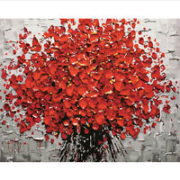 """Flower Oil Painting DIY Paint By Number Kit Living Room Home Decor 16""""x20""""  Red"""