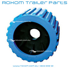 "x12 BOAT TRAILER WOBBLE ROLLERS. 3"" BLUE RIBBED 18-22mm Bore. Soft Wobble Roller"