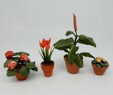 Vintage Terracotta Potted Flower Lot Artisan Dollhouse Miniature 1:12
