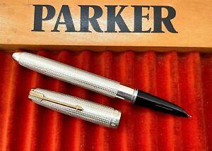 Parker 51 Customized White Sterling Silver Cisele Fountain Pen (#CM193)