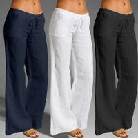 Ladies Casual Loose Long Pants Wide Leg Trousers Elastic Waist Cotton Women 8-26