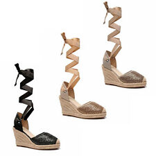 WOMENS WEDGE HEEL CUT OUT TIE UP ESPADRILLES SANDALS LADIES SHOES NEW SIZE 3-8