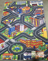 3x5  Area Rug Play Road Driving Time  Street Car Kids City Map Parking New Gray