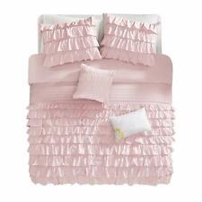 New! ~ Modern Chic Pink White Ruffle Pleated Girl Soft Comforter Pillows Set