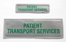 Encapsulated Reflective Patient Transport Service Silver/Green Sew On Badge SL19