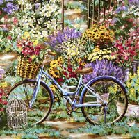 Timeless Treasures Flower Market Garden Scenic 100% cotton fabric by the yard