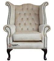 Chesterfield Queen Anne High Back Fireside Wing Chair Perla Shell Velvet