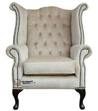Chesterfield Queen Anne High Back Fireside Wing Chair Perla Shell Velvet