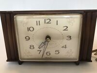 Vintage Westclox Electric Alarm Clock Woodbriar USA Works Mid Century Modern