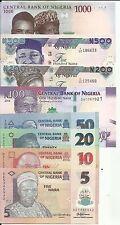 Nigeria Complete Set 8 Notes. 5-10-20-50-100-200-500-10 00 Naira. Unc. 5Rw 26Jul
