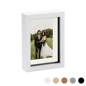 8 x 10 3D Box Frame Photo Picture Deep Display Shadow 5 x 7 Mount White/Ivory