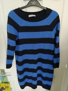 M&S Per Una Size 12 Blue Striped Jumper Dress 3/4 Sleeves