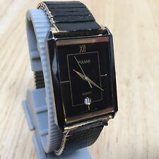Vintage Pulsar Y101 Men Golden Black Analog Quartz Watch Hours~Date~New Battery