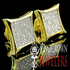 Real Diamond Pave Studs 10mm 4 Prong Square Earrings 0.33 Ct. 10K Gold Finish