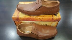Mens Mustard Colour Leather SlipOn Shoes Casual Formal Work Office School(A-D-1)
