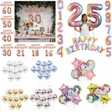 Rose Gold Happy Birthday Bunting Banner Balloons 18/21st/30/40/50/60th Decor UK