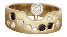 Designer Ring Gold 585 mit Brillanten und Safir Goldring Damenring Brillantring