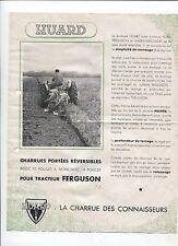 N°8225  / prospectus charrue HUARD pour tracteur FERGUSON   1953