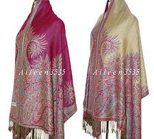Triple Layer Pashmina & Silk PaisleyShawl-Hot.Pink#D