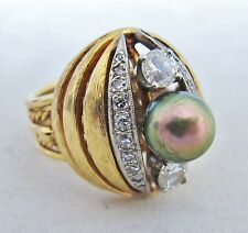 Designer 18K Yellow Gold Ring w/ 8mm Black PEARL & DIAMONDS  (12.8g, size 5.25)