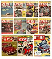 HOT ROD MAGAZINE SET OF 11 FLEXIBLE THIN FRIDGE MAGNETS  BIRTHDAY DAD GRANDAD