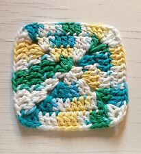 Handmade Crochet SET OF 4 GRANNY SQUARE COASTERS Crocheted MOD OMBRE