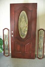 "79"" x 36"" Woodgrain Fiberglass Front Entry Door w/ Glass Sidelites- PICK-UP ONLY"