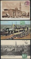 EGYPT 1910 THREE POST CARDS MOSQUE ZEID ZENAB MOSQUE SULTAN HASSAN & CITY WALL &