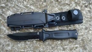 Gerber StrongArm Fixed Blade Knife Black Serrated Edge Tactical Survival EDC