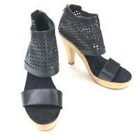 Loeffler Randall Women's High Heel Sandal Wood Perforated Leather Black • 10.5