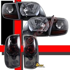 97-03 Ford F150 Pickup SVT Style Black Headlights Corner & Tail Lights Smoke